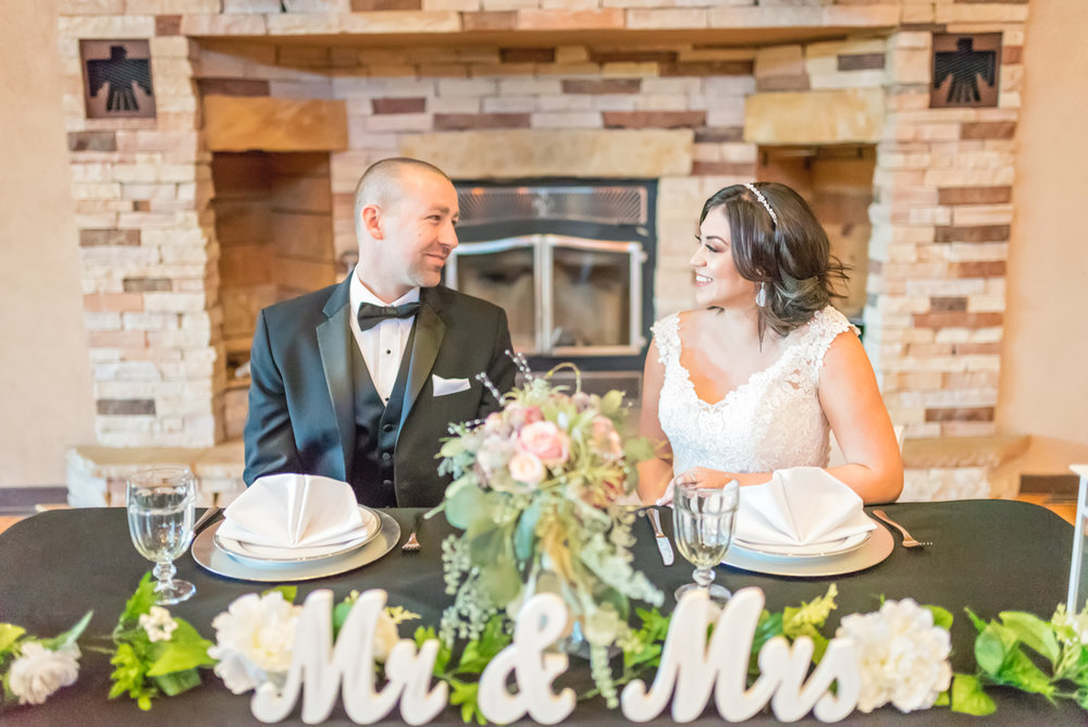 Nature Pointe Wedding and Event Center, Sweetheart Table, Grand Fireplace, New Mexico Wedding, Albuquerque Wedding, Albuquerque Wedding Photographer, Bride and Groom