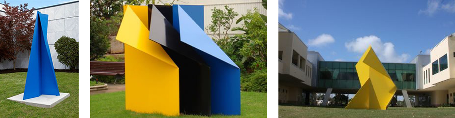 Image credits  (left to right):   Majestad II , 2004-2005, Castellani Art Museum of Niagara University, New York,  Tres Colores , 2007, Mallorca, Spain,  Majestad III , 2009, The Pineschool, Hobe, Florida.
