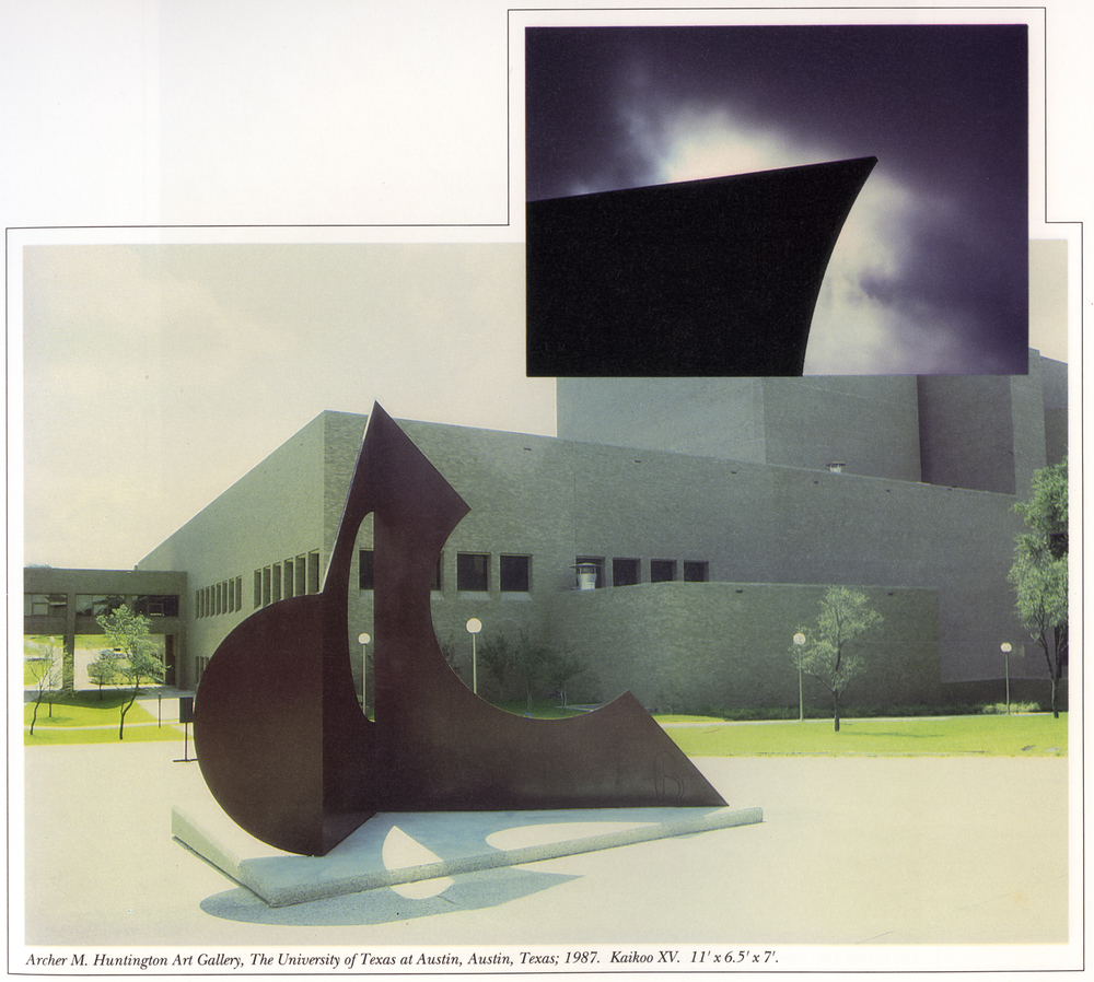 Archer M. Huntington Art Gallery, The University of Texas at Austin, Austin, Texas; 1987.  Kaikoo XV.  11' x 6.5' x 7'.