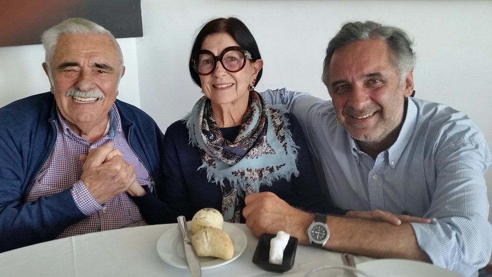 Don Pedro Serra, Betty Gold, and Don Miguel Serra at  Ultima Hora,  Palma de Mallorca, Spain