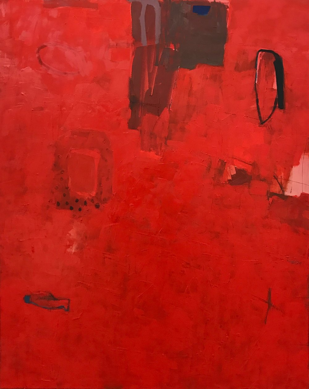 red village  mixed media on canvas  48x60