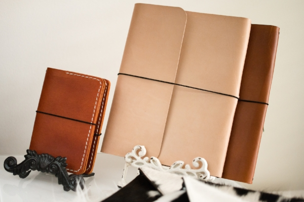 leather-bound notebooks with available branded monogram