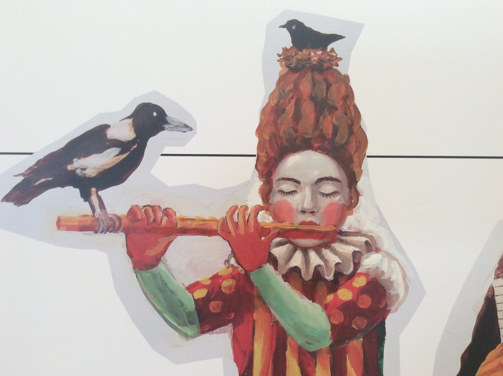 Detail Flautist figure, acrylic on vinyl 2015