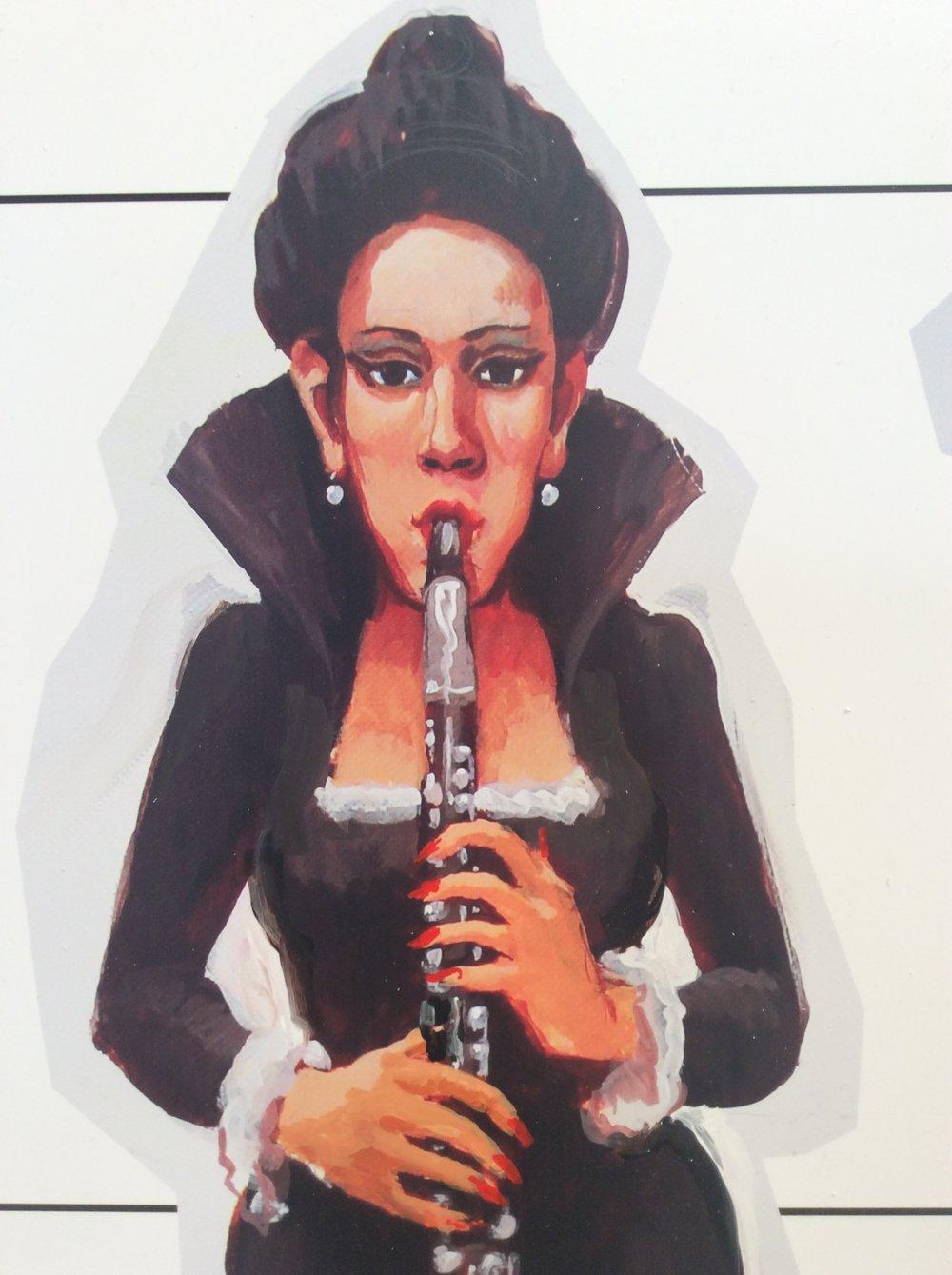 Detail Bass Clarinetist figure, acrylic on vinyl 2015