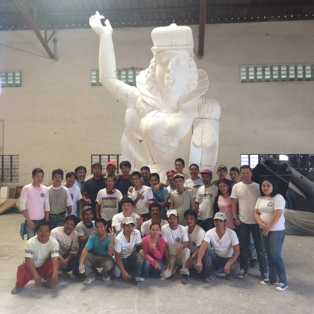 Themebuilders team with Diva figure in progress, Phillipines 2015