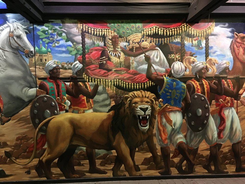 Detail, 1000 nights painting, Scenic Railway, Luna Park Melbourne.