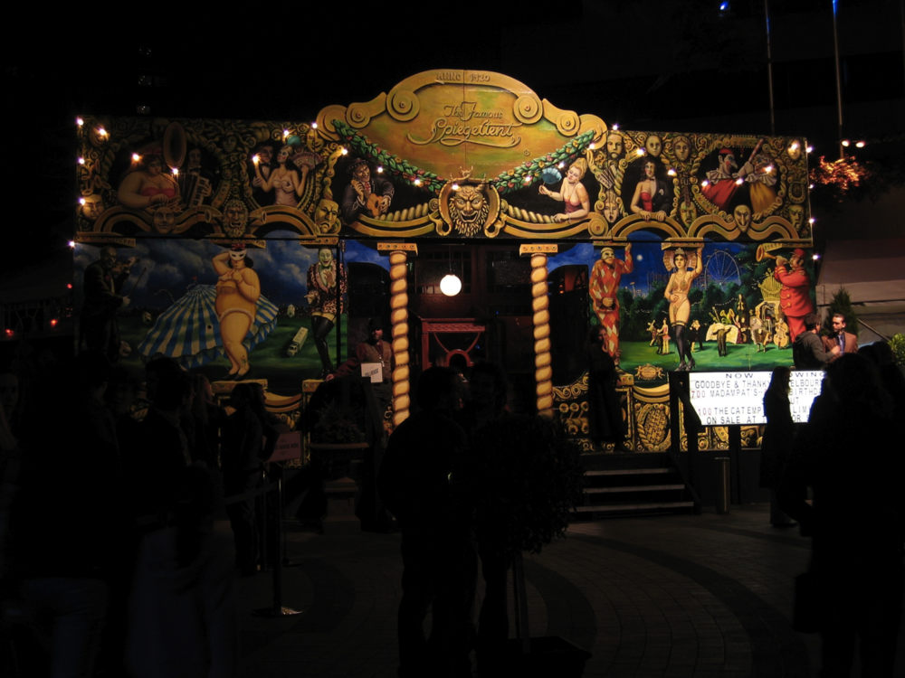 The Famous Spiegeltent facade, nightime