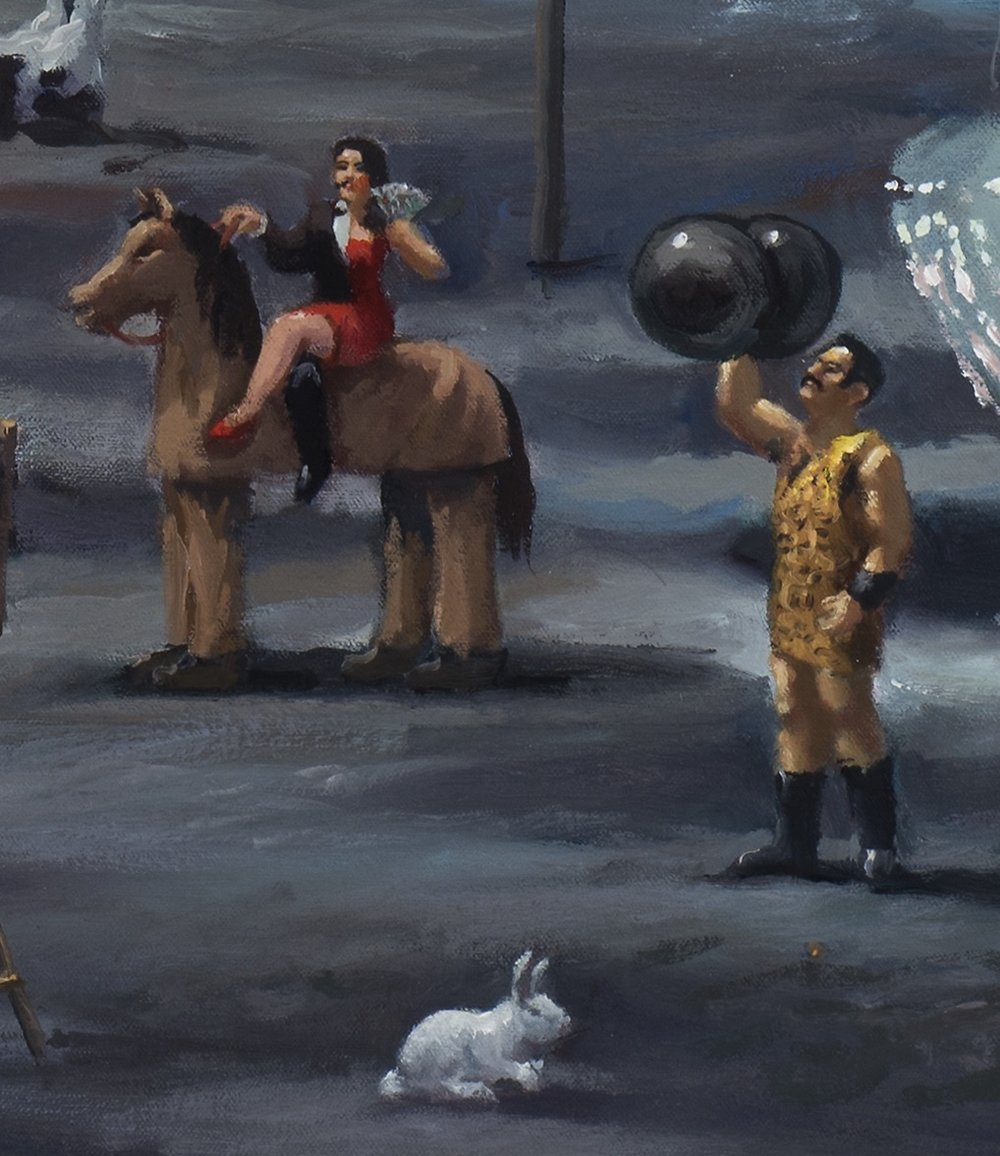 American dream, detail, Panto horse, strong man and rabbit