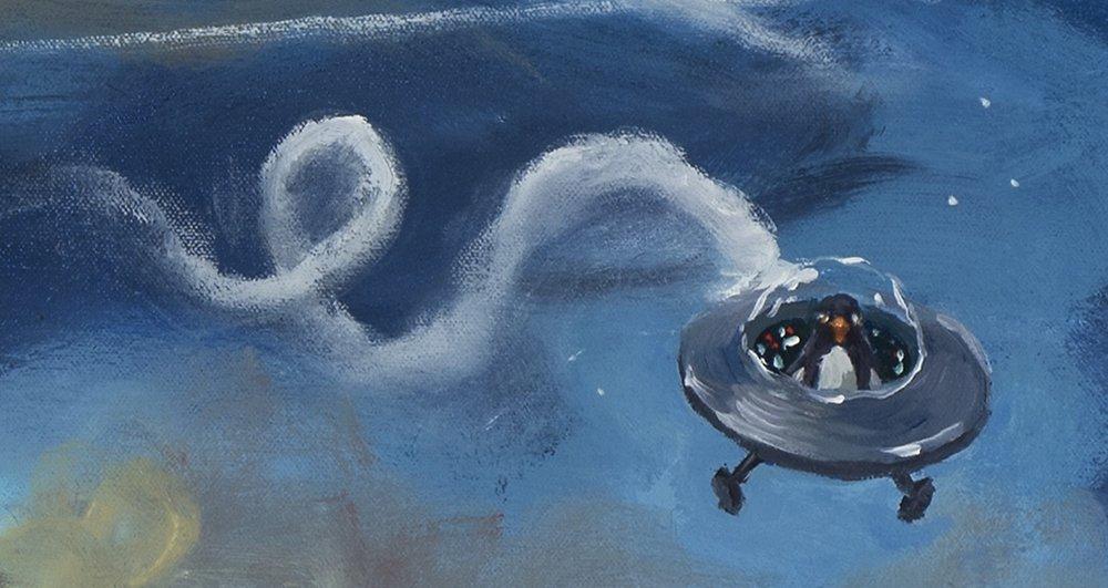 American dream, detail, space penguin