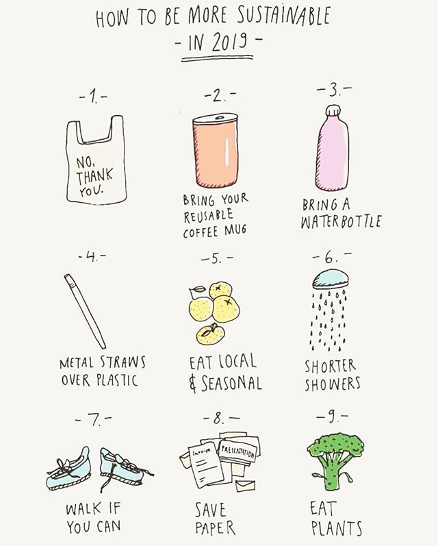 🌱Sustainability🌱 Holistic Health means caring about more than the self. It means caring about the collective body, the planet as a whole and the ethics of our decision making powers. The beautiful thing is that we get to choose, so let's make these choices count.  Here are 9 small changes you can make to work toward #sustainability in 2019 above ☝🏼 ✨Tip: RN purchase produce bags, reusable mugs and containers, straws, etc. put them in an EASY to grab spot in your house, then immediately make a plan to integrate them into your routine. Stack your habits to make sure they become part of the morning routine. 'After I pack my bag in the morning, I will grab my grocery bags and reusable silverware and put them in.' Be specific about how, when and where you will incorporate these new habits. Pretty soon they will just become a part of you. ✨These habits will also save some money in the long run, so it's a win win. ♥️ 📸 @zurahealth