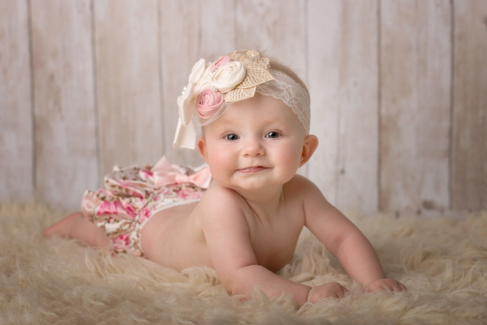 6 month baby girl milestone portrait session in Woodbridge VA studio