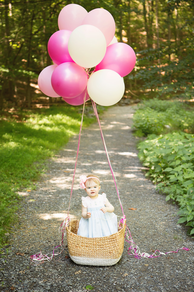first birthday girl in basket with pink balloons along trail at Lake Ridge Marina Park with Jessica LS Photography