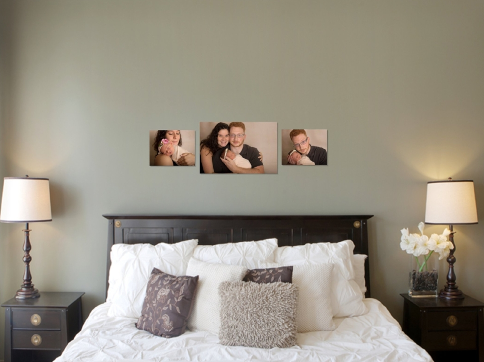 Canvas wall art gallery in bedroom