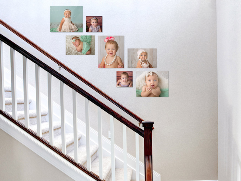 Baby's First Year wall gallery above the stairs