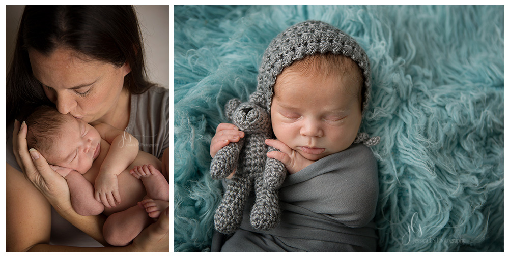 newborn baby boy with gray and teal themed studio session with Jessica LS Photography in Woodbridge, VA