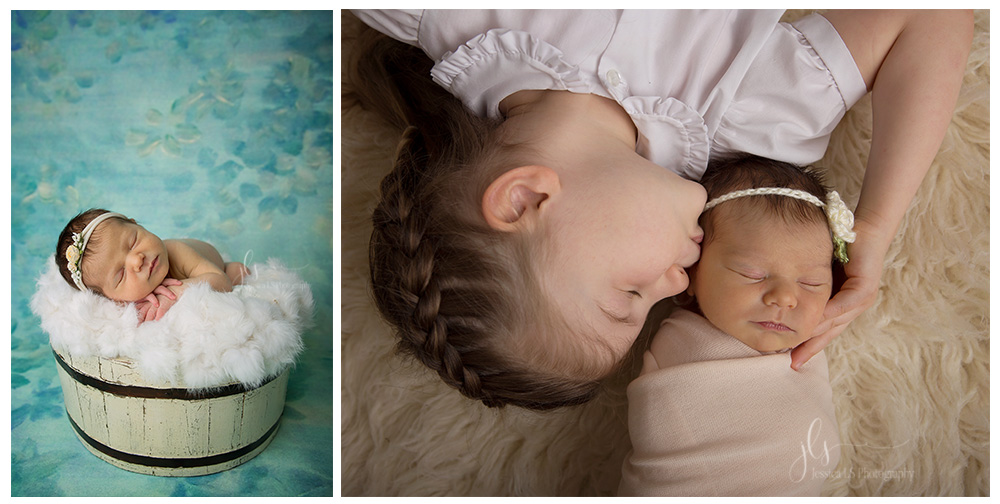 newborn baby girl in wooden bucket and big sister in Woodbridge, VA studio