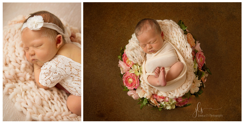 newborn baby girl in lace and flower wreath in natural light Texas home
