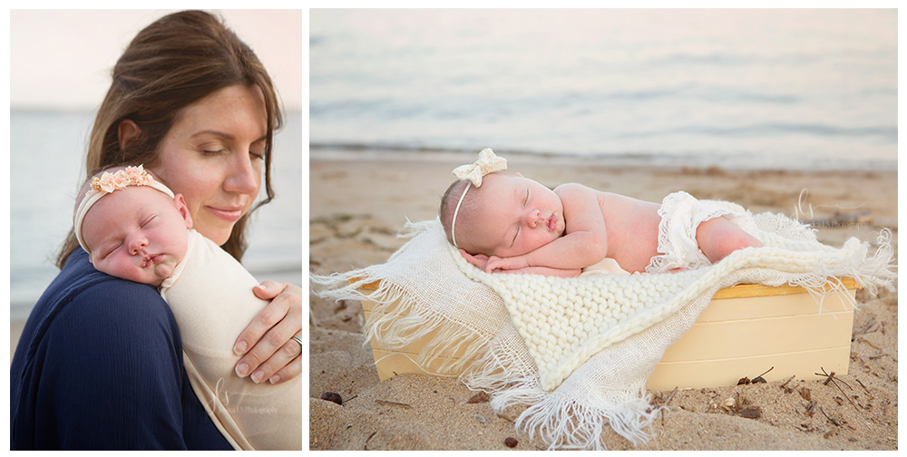 newborn baby girl on beach in sailboat prop in Leesylvania State Park