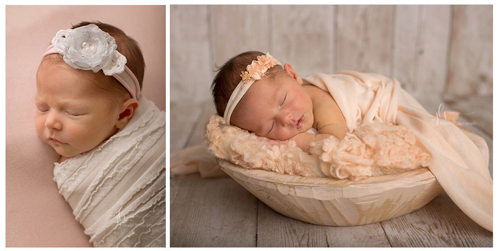 newborn baby girl in peach and pink in Woodbridge, VA studio
