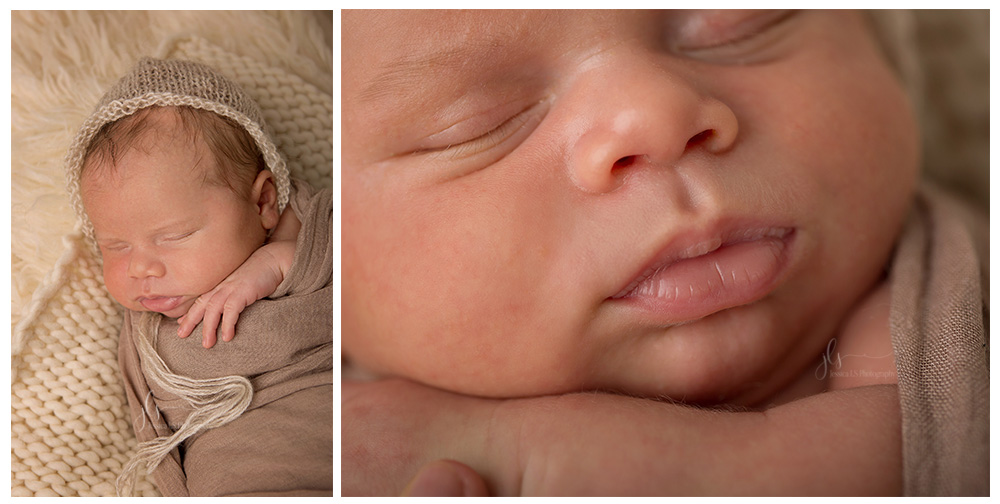 3 week old baby newborn boy in beige and tan in Woodbridge, VA studio