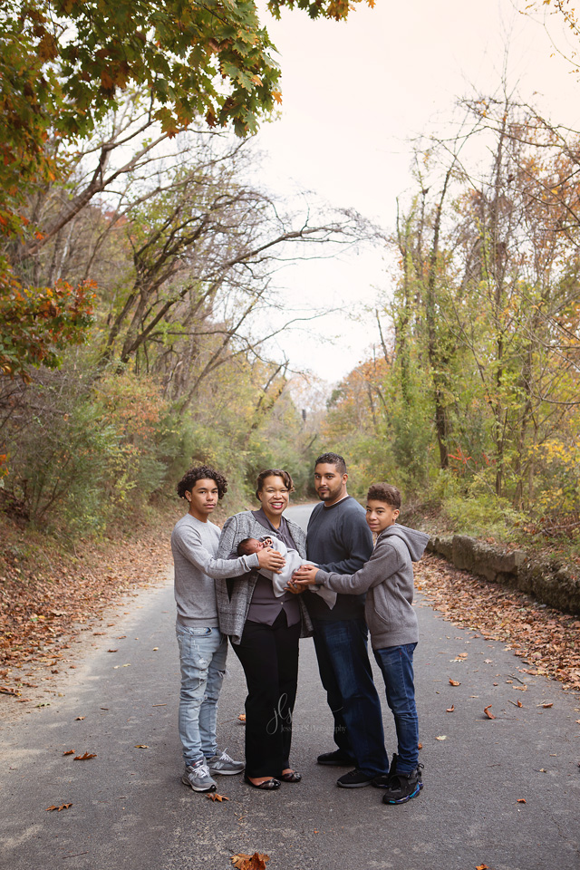 Occoquan Fall Family session in grey and blue