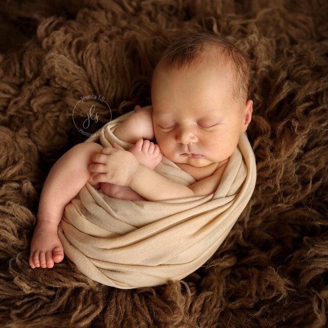 Newborn baby boy curled up in blanket