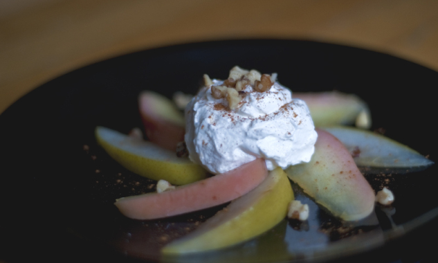 mulled apples and pears with goat cheese mousse