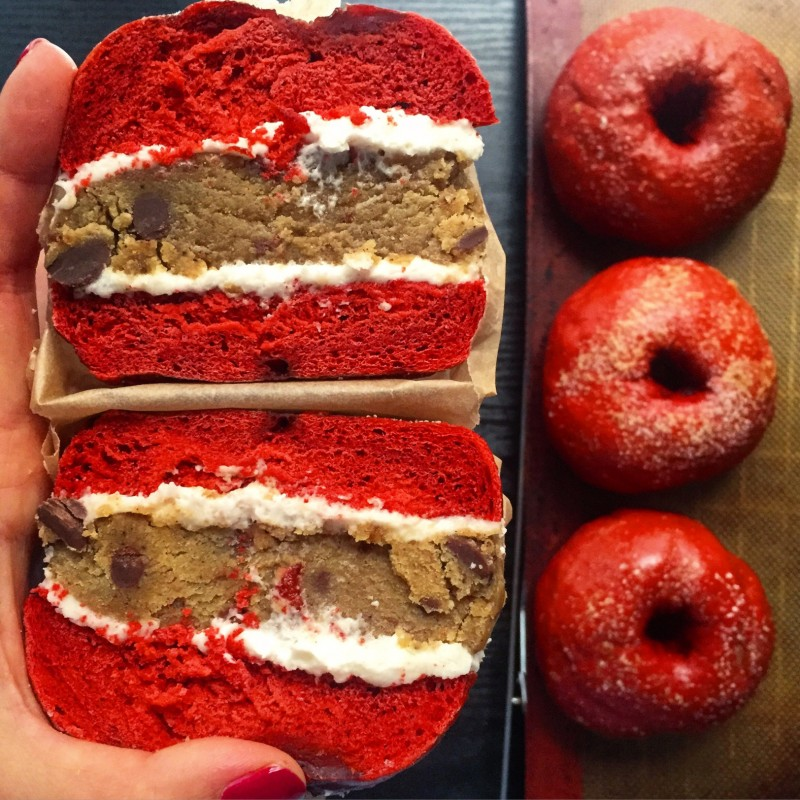 Red velvet cookie dough bagel