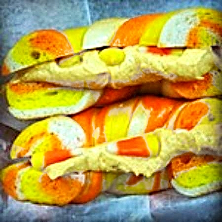 Candy Corn bagel w/ Candy Corn cream cheese