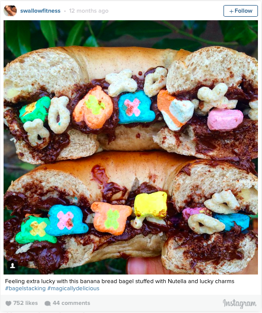 Banana Bread Bagel w/ Nutella and Lucky Charms