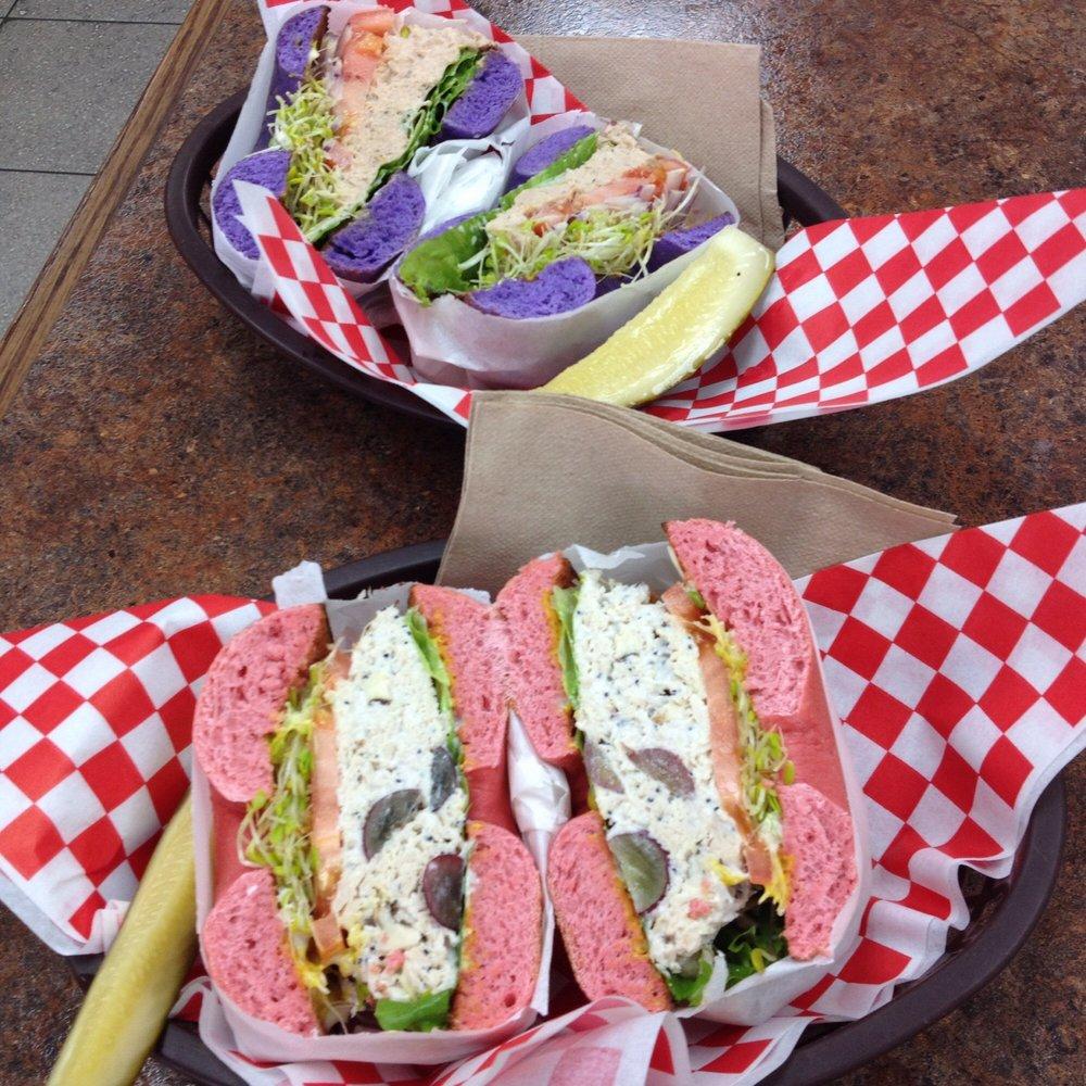 Taro bagel w/ tuna, Strawberry guava bagel w/ chicken salad