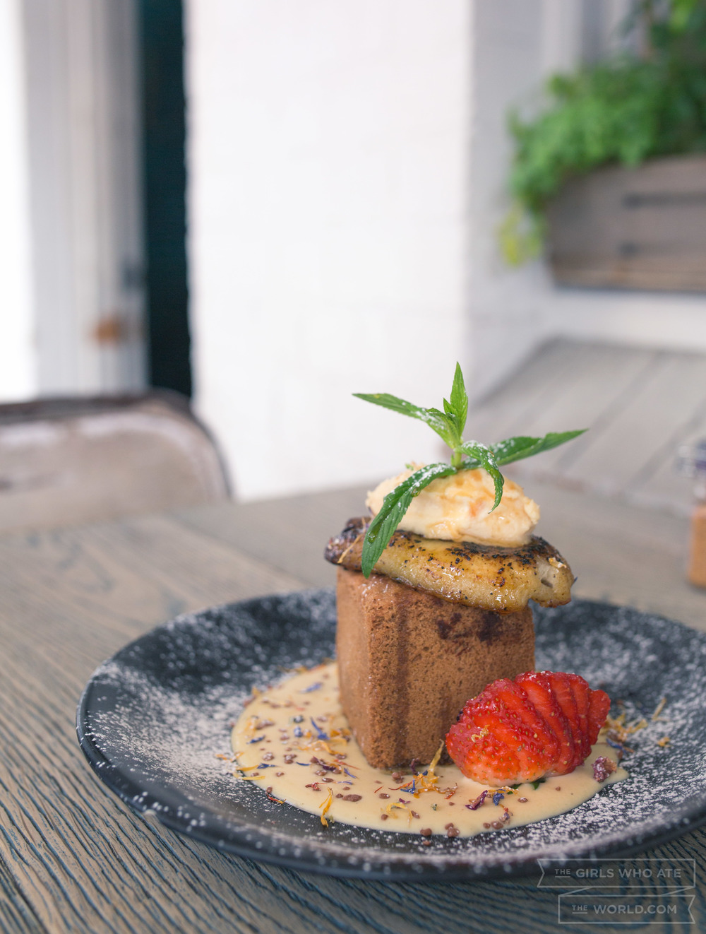 The Lost Cookie of Pompeii (17) - Chocolate lava cookie, peanut butter mascarpone, banana, chocolate covered popping candy and crème anglaise