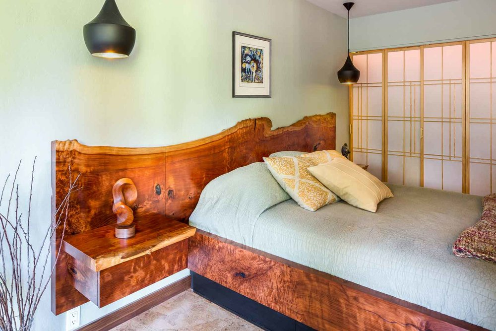 Stunning redwood slab headboard