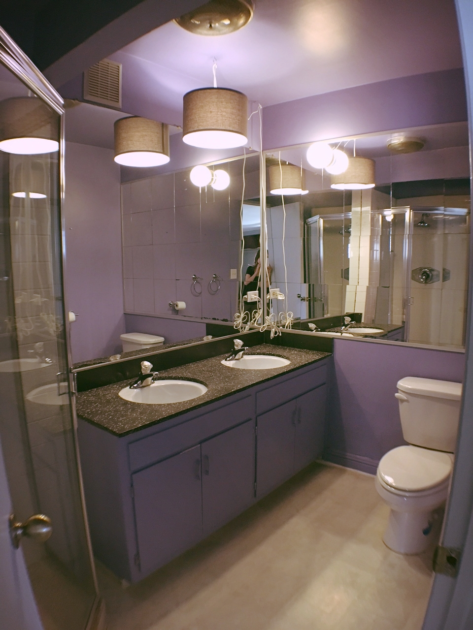 The original bathroom, purple and mirrors... need I say more on why this had to go?