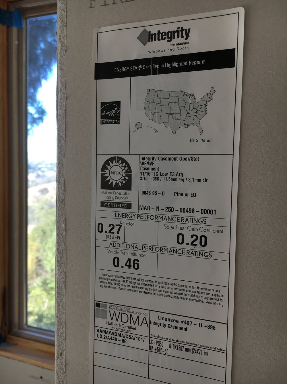 Here are the performance ratings for our windows, appropriate for the Southern Californian climate.