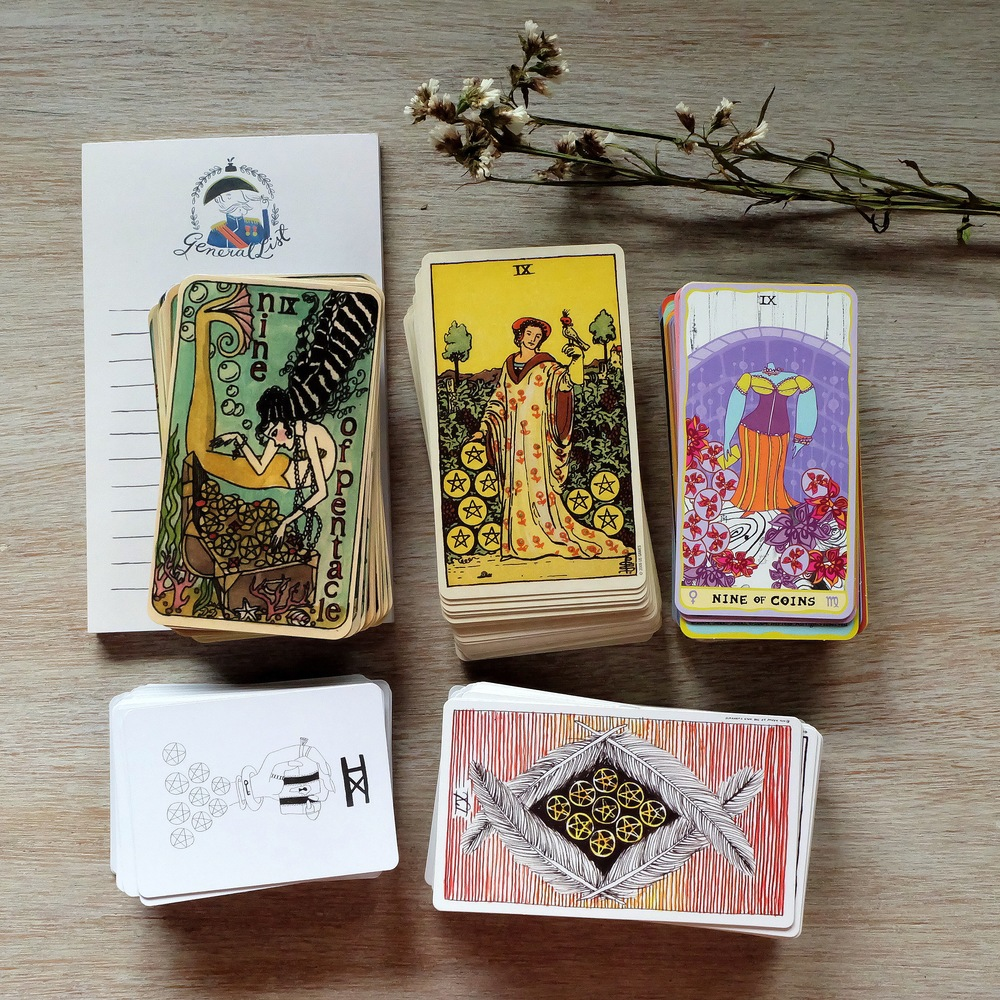 The 9 of pentacles is my card of the year! All the cards together show so many ways to channel abundance and luxury.