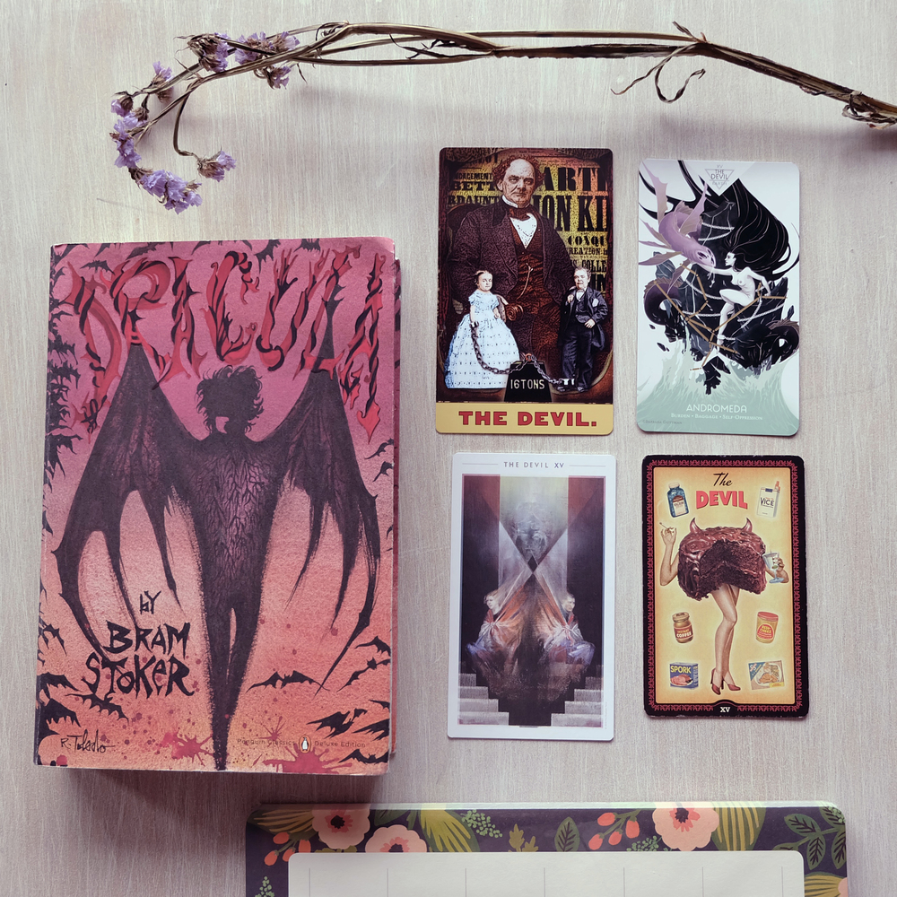 Decks used: Tarot of the Zirkus Magi (Duck Soup Productions), Cosmos Tarot (Light Grey Art Lab), Fountain Tarot (Jason Gruhl, Jonathan Saiz, Andi Todaro), Housewives Tarot (Quirk Books) // Dracula by Bram Stoker (Penguin Classic Deluxe Edition)
