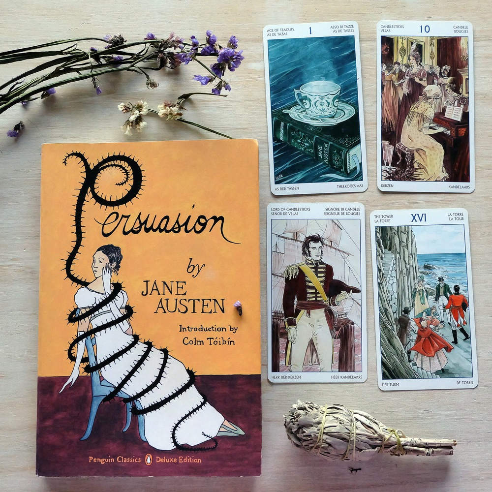 The cards according to  Persuasion:  Ace of Teacups ( Persuasion ), Anne Elliot on the piano (10 of Candlesticks), Captain Wentworth (Lord of Candlesticks), Louisa Musgrove's near fatal jump (The Tower)