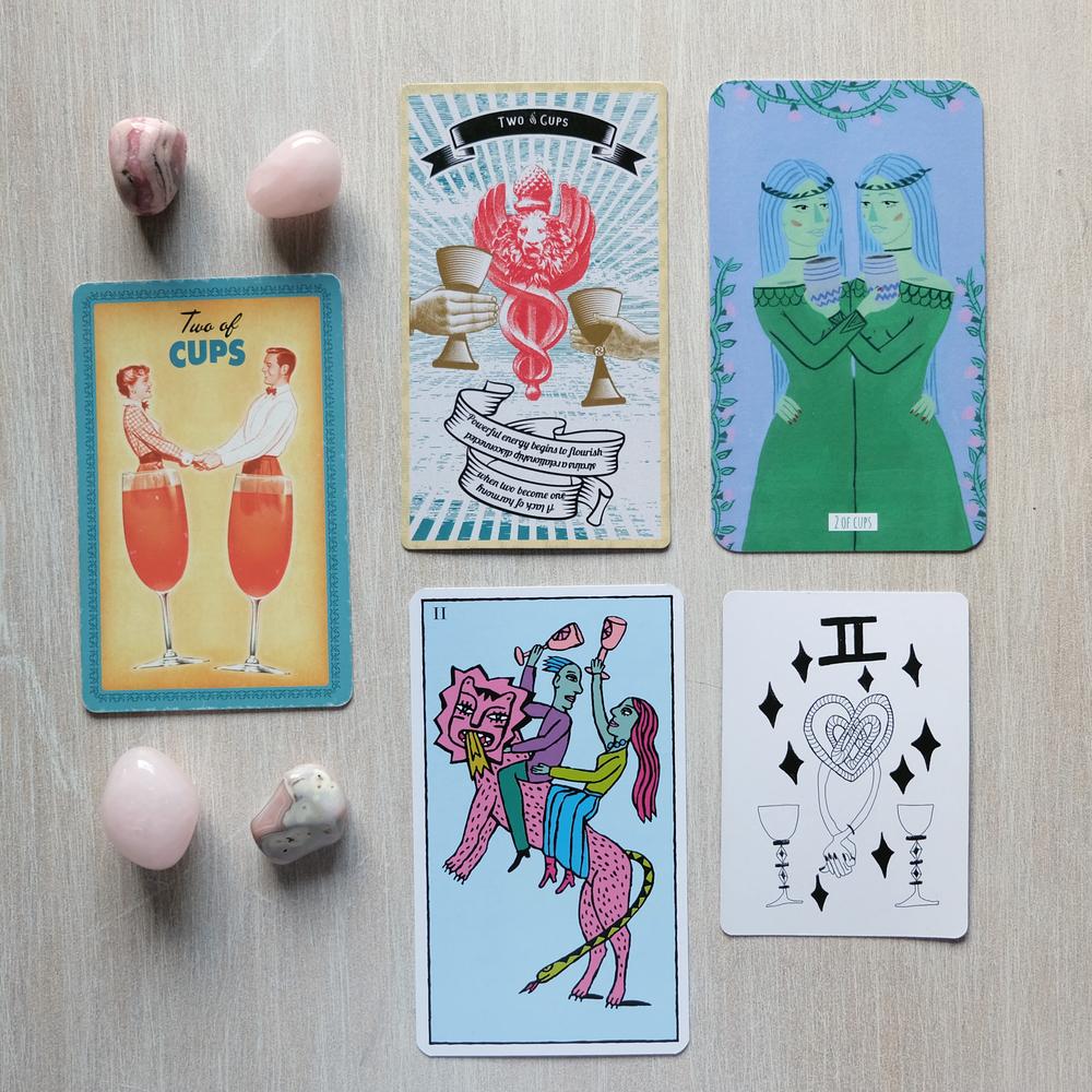 Decks used:  Housewives Tarot  (Quirk Books),  Madam Clara Sees All  (Motel Gift Shop),  Circo Tarot  (Marisa de la Peña),  Kitty Kahane Tarot  (Lilo Schwarz),  Spirit Speak Tarot  (Mary Elizabeth Evans)