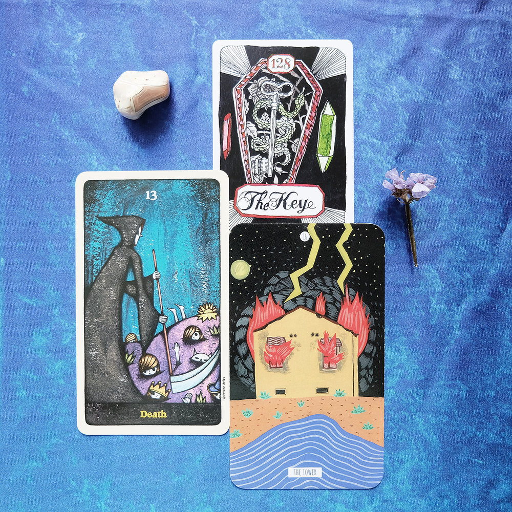 Decks used: Delos Tarot (lamblamb99), Cards of Chaos (Aya Rosen), Circo Tarot (Tightrope Press)