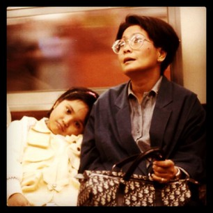 My mom and I on the train in Tokyo, 1986