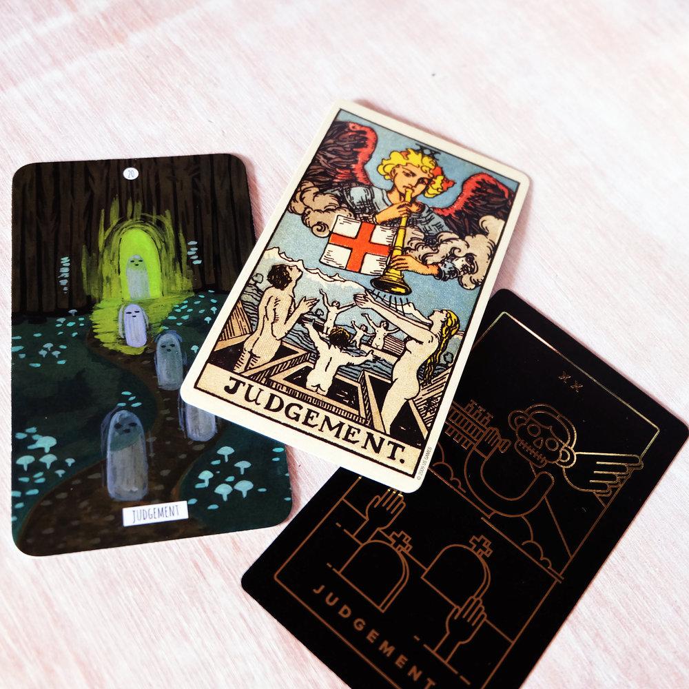I love these decks, but this card… really… [Decks used:  Circo Taro t (Marisa dela Peña),  Centennial Smith Waite Tarot  (Pamela Colman-Smith),  Golden Thread Tarot  (Tina Gong)]