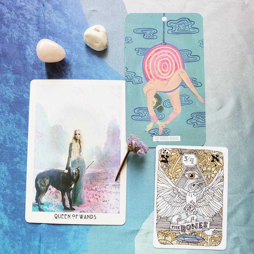 Decks used:  Starchild Tarot Akashic Edition (Danielle Noel),  Circo Tarot  (Marisa dela Peña),  Cards of Chaos  (Aya Rosen)