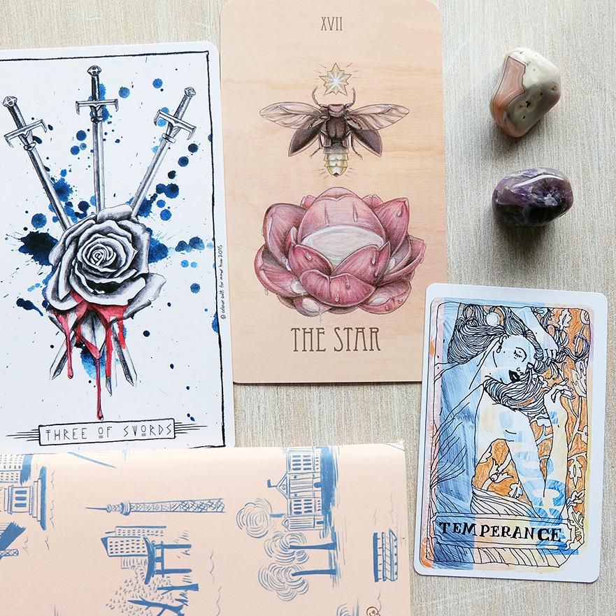 Decks used: Lumina Tarot (Lauren Aletta, Inner Hue), The Wooden Tarot (Skullgarden), Metro Tarot Cards (Aya Rosen, Gamecrafter)