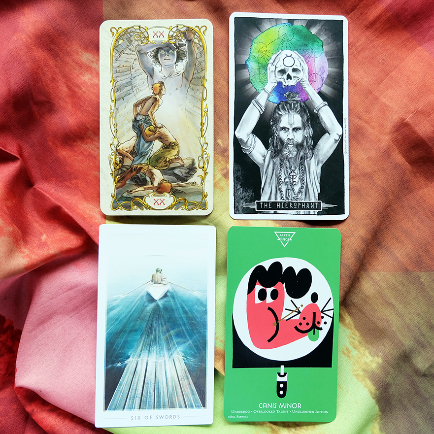 Decks used:  Tarot Mucha  (Lo Scarabeo),  Lumina Tarot  (Lauren Aletta, Inner Hue),  Fountain Tarot  (Andi Todaro, Jontahan Saiz, Jason Gruhl),  The Cosmos Tarot and Oracle  (Light Grey Art Lab)