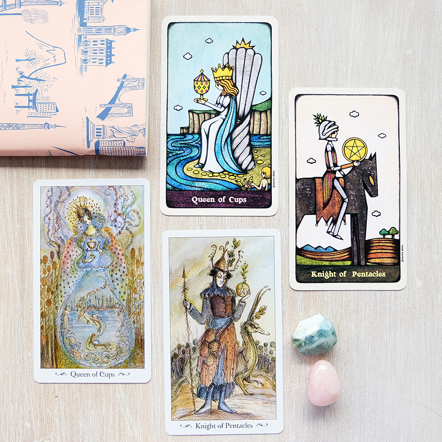 Would you rather have the clearly outlined figures of the Delos Tarot or the richly visual watercolor drawings of the Paulina?