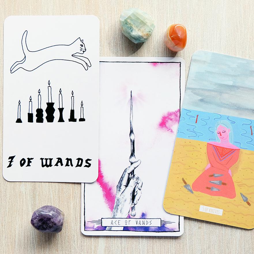 Decks used:  Small Spells Tarot  (Rachel Howe, Small Spells),  Lumina Tarot  (Lauren Aletta, Inner Hue), and  Circo Tarot  (Marisa dela Peña, Tightrope Press)