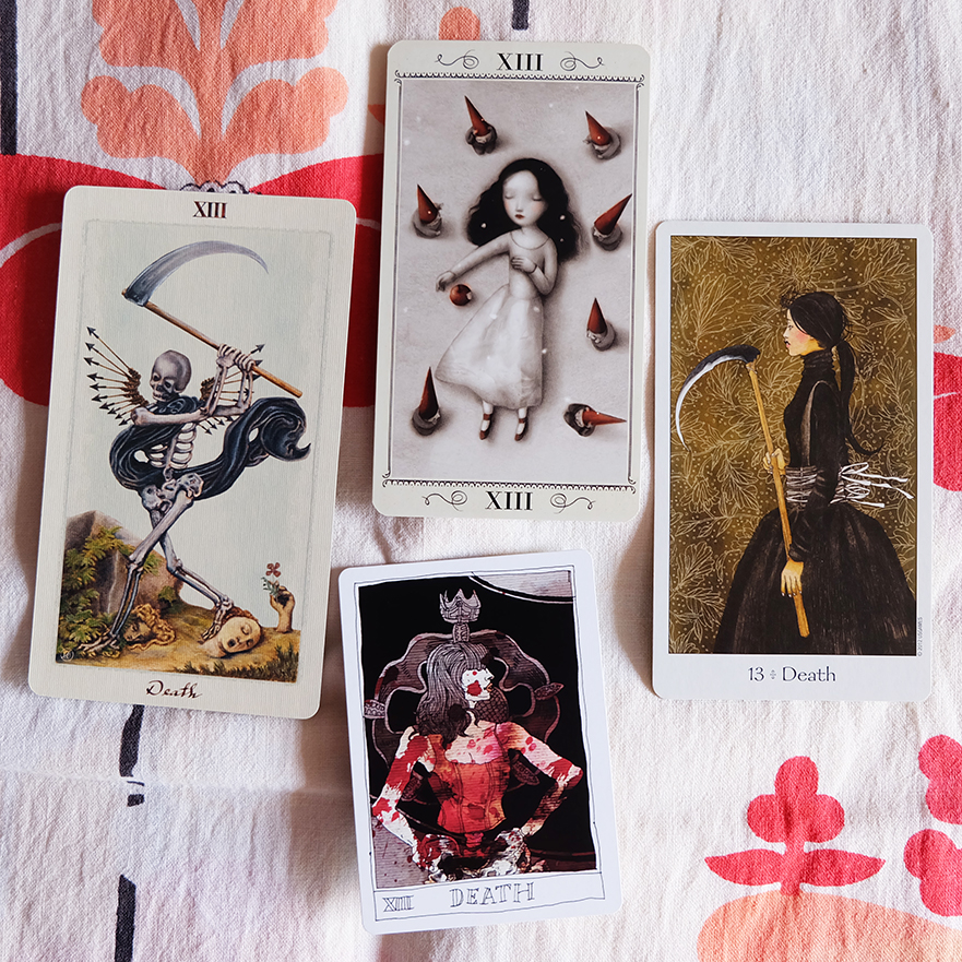 Decks used: Pagan Otherworlds Tarot (UUSI), Nicoletta Ceccoli Tarot (Nicoletta Ceccoli, Lo Scarabeo), Dreaming Way Tarot (Kwon Shina and Rome Choi, US Games), Black Lilly Tarot (Aya Rosen, Gamecrafter)