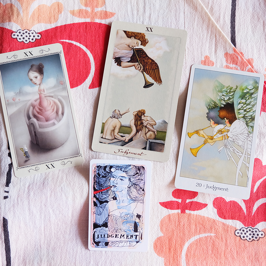 Decks used:  Nicoletta Ceccoli Tarot  (Lo Scarabeo),  Pagan Otherworlds Tarot  (UUSI Design),  Dreaming Way Tarot  (Kwon Shina and Rome Choi, US Games),  Metro Tarot Cards  (Aya Rosen, Gamecrafter)