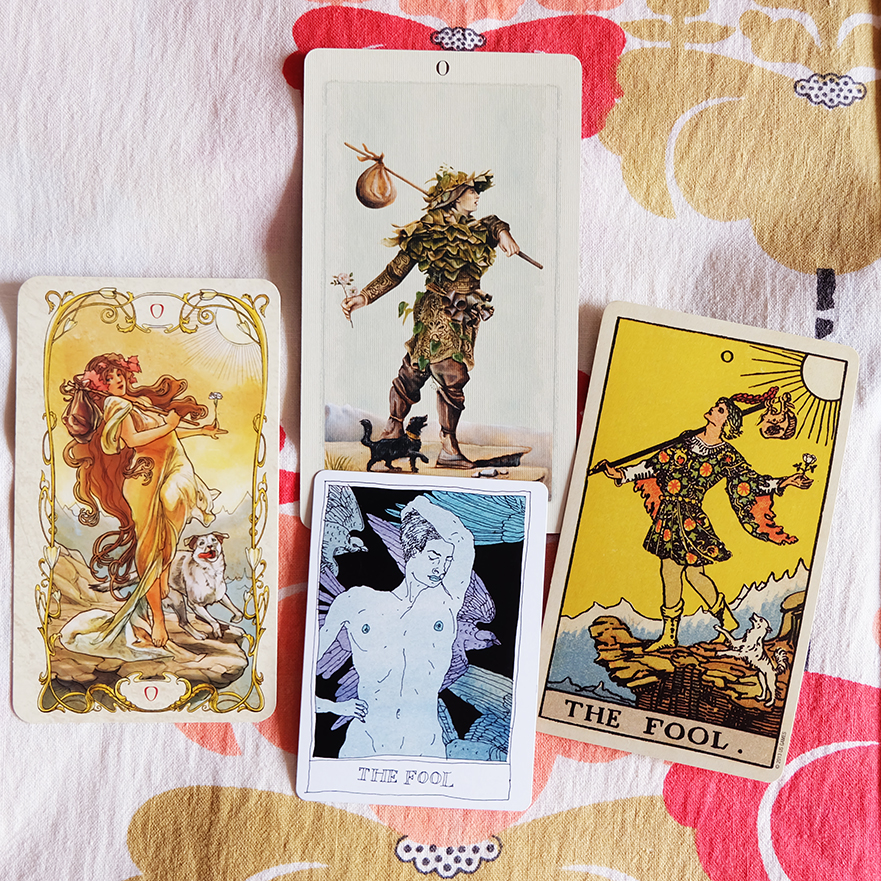 Decks used:  Tarot Mucha  (Lo Scarabeo),  Pagan Otherworlds Tarot  (Uusi Design Studio),  Black Lilly Tarot  (Aya Rosen),  Centennial Waite-Smith  (Pamela Colman Smith, US Games)